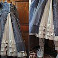 Robe à petits pois bleu, jupon et pantalon JAYKO - Atelier des Ours.