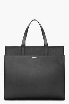 Saint Laurent Black Leather Flat Tote for women   SSENSE