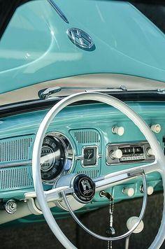 1962 Volkswagen Vw Beetle Cabriolet Steering Wheel by Jill Reger - Automobil - Cars Volkswagen Karmann Ghia, Vw Beetle Cabriolet, Vw Cabrio, Vw T1, Volkswagen Beetle Vintage, Vw Bugs, Van Vw, Kdf Wagen, Vw Classic