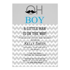Modern Mustache Boy Baby Shower Invitations