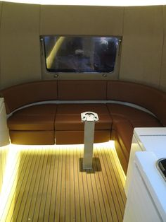 Here is a close up of the leather upholstered lounge that was created in our client's mobile trailer customer booth.