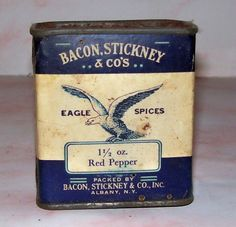 Vintage Bacon Stickney Co's Albany New York Eagle Spices Red Pepper Spice Tin | eBay