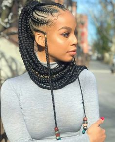 Braids For Black Women Picture ponytail hairstyles for black women african braids Braids For Black Women. Here is Braids For Black Women Picture for you. Braids For Black Women 81 elegant braided hairstyles for black women. Braids F. Braided Ponytail Hairstyles, African Braids Hairstyles, Cornrows Ponytail, Protective Hairstyles, Ponytail Ideas, Braids Ideas, Curly Ponytail, Easy Hairstyle, Ponytail With Braiding Hair