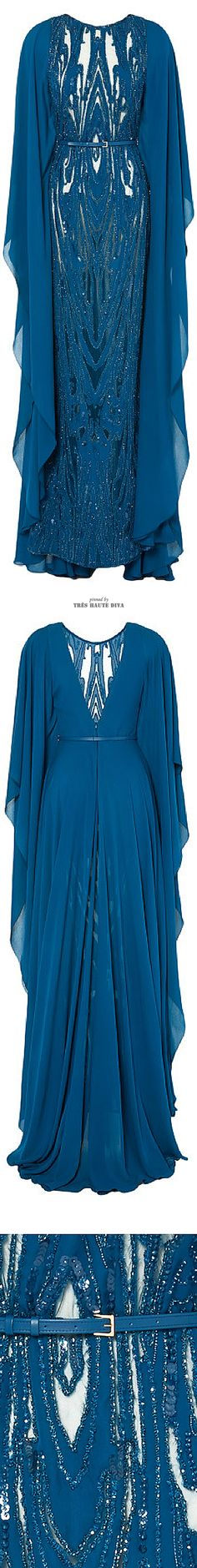 Ellie Saab Embroidered Blue Double Silk Georgette Butterfly Sleeve Gown ♔ SS 2015