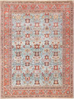 View this breathtaking and finely woven, light blue background, antique Persian Tabriz Oriental rug 48820 from Nazmiyal Collection in New York City. 10 ft 6 in x 13 ft 5 in