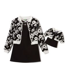 Look what I found on #zulily! Black Floral Bomber Jacket Set & Doll Outfit - Girls #zulilyfinds