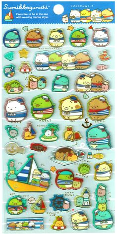 San-x Sumikko Gurashi Sail Friends Epoxy Jewel Sticker Sheet