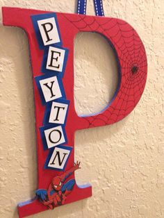Spider-Man Theme- Name Wall Hanging- Initial Letter With name- Red and Blue… Avengers Room, Spiderman Theme, Superhero Room, Man Room, Toy Rooms, Kids Bedroom, Bedroom Ideas, Boy Bedrooms, Decoration