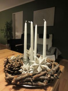 Christmas decor - candles - white - branches - wood