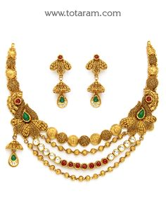 Gold Antique Necklace & Drop Earrings Set with Stones: Totaram Jewelers: Buy Indian Gold jewelry & Diamond jewelry Antique Necklace, Antique Jewelry, Diamond Jewelry, Gold Jewelry, Gold Jewellery Design, India Jewelry, Gold Bangles, Wedding Jewelry, Drop Earrings