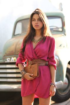 perfection. fuscia and camel. wrap dress, belt, jewelry and clutch. rustic yet classy