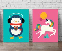 nursery wall decal set A5-A0 large poster set unicorn by PosterSet