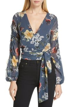 New NICHOLAS Floral Print Silk Pintuck Wrap Top. Best Seller Womens fashion clothing from top store Blouse Styles, Blouse Designs, Latest Fashion For Women, Womens Fashion, Blouse Dress, Party Fashion, Designer Dresses, Beautiful Dresses, Floral Tops
