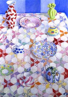 kaffe fassett painting Patchwork quilt table