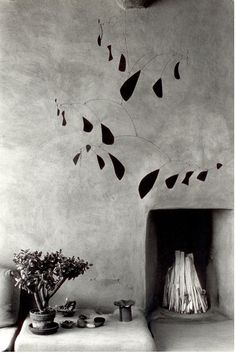 Georgia O'Keeffe's house in Abiquiu, New Mexico, 1980:Mobile by Alexander Calder.Photograph by Myron Wood. (via)