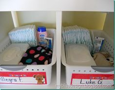 Baskets in cubbies keep kids items neat and seperated