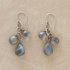 "LABRADORITE CASCADE EARRINGS -- A subtle sparkle on sterling silver links, trios of faceted iridescent labradorites. Sterling silver earwires. Handmade. USA. Exclusive. 1-3/4""L."