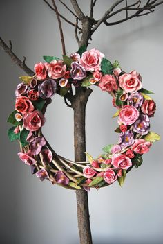 big wreath with ceraminc flowers by MarrusCreations on Etsy Floral Wreath, Wreaths, Trending Outfits, Unique Jewelry, Handmade Gifts, Big, Flowers, Etsy, Vintage