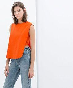 Overlay T-Shirt With Zip, $25.90, Zara