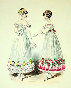 bumble button: Jane Austen Clothing Regency Fachion Plates, Early 1800's. Free clip and instant art.
