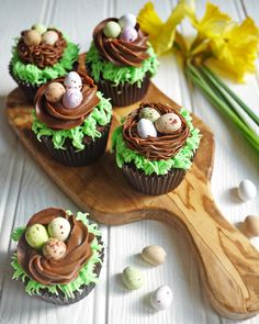 Easter Chocolate Nest Mini Egg Cupcakes: Give your favorite candy eggs a special home on top of one of these tasty cupcakes. Click through for more easy and cute Easter cupcakes for kids. Talk about jinx it. I was one of those awful mothers that said Spring Cupcakes, Easter Cupcakes, Easter Cookies, Cupcakes Kids, Easter Cup Cakes Ideas, Easter Baking Ideas, Childrens Cupcakes, Dinosaur Cupcakes, Dinosaur Birthday Cakes