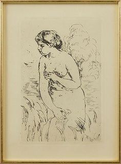 PIERRE-AUGUSTE RENOIR (FRENCH, 1841-1919) BAIGNEUSES. Lot 151-6257 #etching