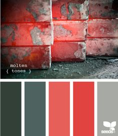 Molten tones. #color #palette #colorpalette #colorscheme #paint #design #red #green #emerald #grey#salmon