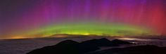 Northern Lights looking over an undercast towards Clay, Jefferson, Adams, and Madison, NH. Please support the Mount Washington Observatory, this photo was taken 9/12/2014 and is available for purchase by following this link.