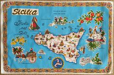 "Nice! Check out this colorful cloth map of Sicilia, showing highlights of the beautiful Isola del Sole (""Insel der Sonne"") -- Island of the Sun. ⠀  #Sicilia #Siciliano #Sicily #Palermo #Siracusa #Catania #Trapani #Agrigento #Messina #Taormina #Caltanissetta #Ragusa #banner #cloth #map #isola #sun #sunshine #vacation #shopping #NYC #LittleItaly #Italian #Italia #Italy #ItalianAmerican #articoliitaliani #gifts #housewares #music ⠀"