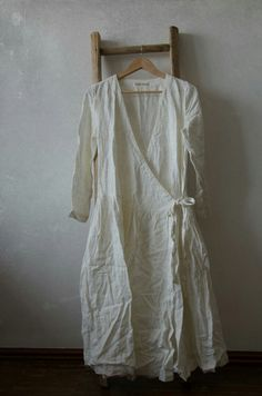 White apron / Wrapover duster dress