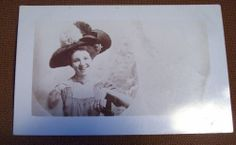Vintage sepia RPPC Postcard - Pretty Lady with Big Feathered Hat