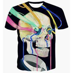 Fashion Skull Printing Pullover Color Strip T-Shirt For Men