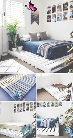 36 einfache DIY-Bettrahmenprojekte für ein Upgrade Ihres Schlafzimmers - home diy on a dime #Schlafzimmer bett #Schlafzimmer bett ideen<br> Decoration Bedroom, Diy Home Decor, Wall Decor, Decor Room, Decoration Crafts, Diy Bett, Diy Bed Frame, Bed Frames, Easy Frame