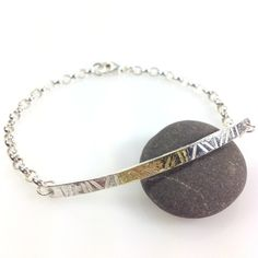 Sterling silver and 18ct gold  bar bracelet, id style  £58.00