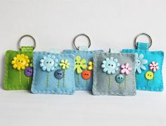 Felt Flower Button Keyring by Little Lili May