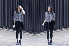 Vintage Button Down Shirt, American Apparel Velvet Skirt, Dsw Chelsea Boots | LINES (by Josephine Hu) | LOOKBOOK.nu