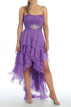 A Line Strapless Sweet Heart Neck Line High Low Party Chiffon Dress With Beading