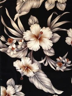 Retro Hawaiian Barkcloth with White Hibiscus