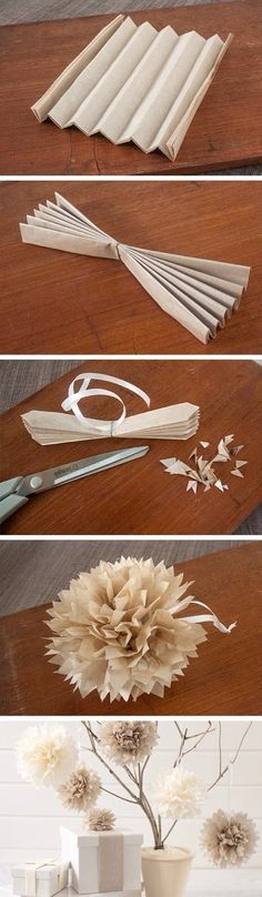 Easiest way to make paper Pom poms ^^