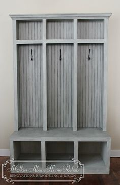 Entryway Mudroom Locker & Bench 3 lockers by furniturebyACAHR, $850.00 love the rustic distressed gray - great Shabby Chic look!