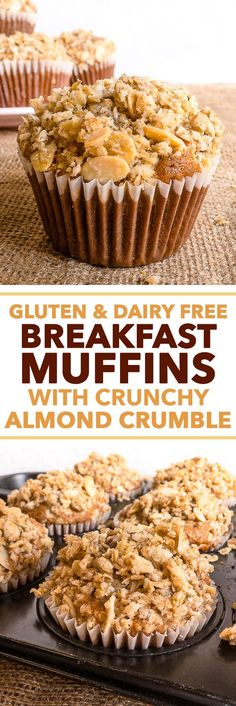 Gluten & Dairy Free Breakfast Muffins with Crunchy Almond Crumble {gluten, dairy, peanut & soy free} - These gluten & dairy free breakfast muffins have absolutely everything going for them – they are easy and quick to prepare, super delicious and allergy friendly! With a healthy balance of fats, carbs and protein, they will keep you full until lunch, and the sugars will give you a kick of energy that everyone needs in the morning. Plus, there's a crumble!