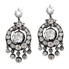 Victorian 6.5 Carat Diamond Chandelier Earrings