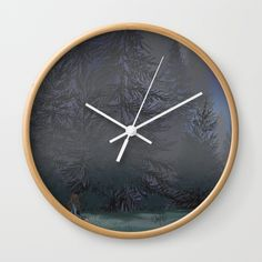 """Available in natural wood, black or white frames, our 10"""" diameter unique Wall Clocks feature a high-impact plexiglass crystal face and a backside hook for easy hanging. Choose black or white hands to match your wall clock frame and art design choice. Clock sits 1.75"""" deep and requires 1 AA battery (not included). #mandilynnart #macaffinity #brokenhearted"""