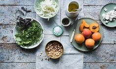 Anna Jones.  Peppery green salad with apricots and curd cheese