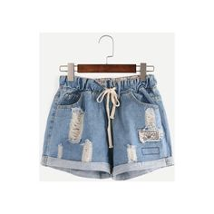 Rotita Pocket Design Drawstring Waist Denim Shorts ($21) ❤ liked on Polyvore featuring shorts, blue, draw string shorts, blue denim shorts, blue jean short shorts, denim short shorts and drawstring shorts