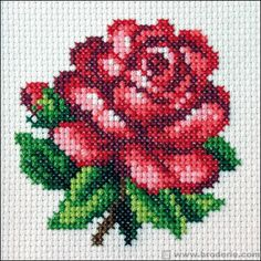 Clay Mosaic - Rose made from cross stitch pattern: Hi, I love doing clay crafts. Small Cross Stitch, Cross Stitch Rose, Cross Stitch Borders, Cross Stitch Flowers, Cross Stitch Designs, Cross Stitching, Cross Stitch Embroidery, Cross Stitch Patterns, Loom Beading