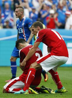 #EURO2016 Austria's defender Aleksandar Dragovic reacts afte he missed scoring a goal during the Euro 2016 group F football match between Iceland and Austria...