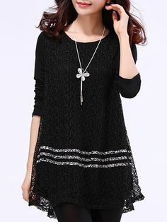 Hollow Out Plain Lace Round Neck Long-sleeve-t-shirts