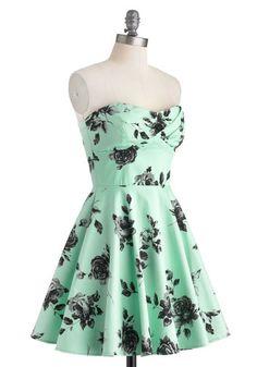 Traveling Cupcake Truck Dress in Mint Roses   Mod Retro Vintage Dresses   ModCloth.com