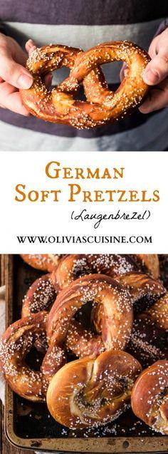 German Soft Pretzels (Laugenbrezel) - Olivia's Cuisine - I Cook Different Beer Recipes, Snack Recipes, Cooking Recipes, Snacks, Recipies, German Bread, German Baking, Bretzel Recipe, Austrian Recipes